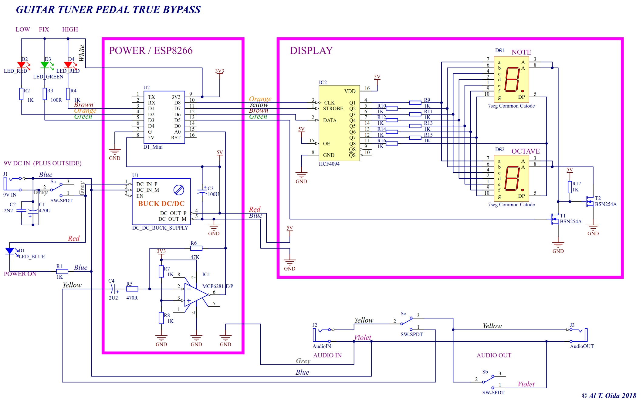 Guitar Tuner Doing Hard Oida Tech 9vdc Power Supply Regulated 7 Segment Display Circuit Diagram From This Schematics Is Missing The By Pass Part Output Jack And Stump Switch Cause Obvious We Dont Need During Debugging Dc To